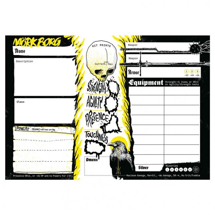 Mork Borg: Character Sheet Pad