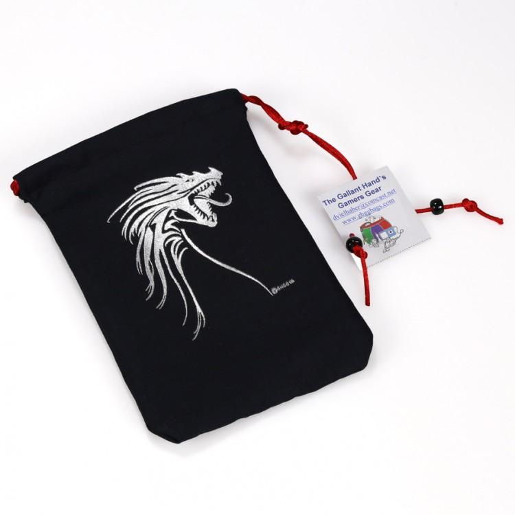 Dice Bag: Silver Tribal Dragon