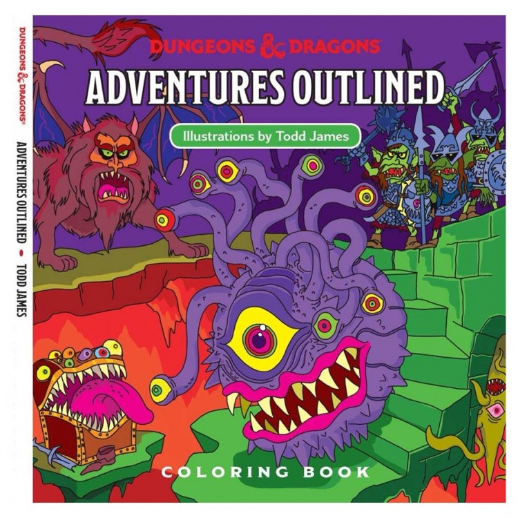D&D 5E:Adventures Outlined Coloring Book