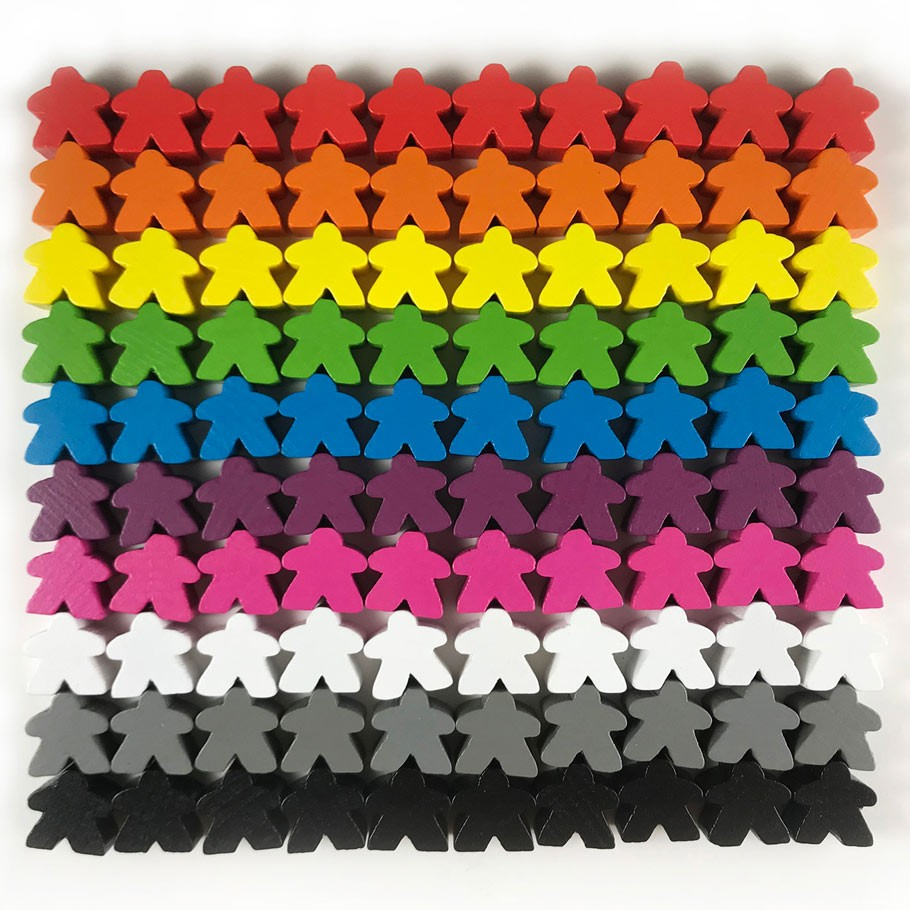 Games Accessories Meeples Wooden Meeples 16mm Black x 10