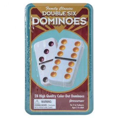 Double Six Color Dot Dominoes in Tin