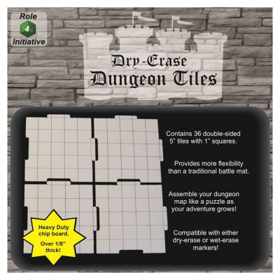 "5"" Dry Erase Interlk Dungeon Tiles (36)"